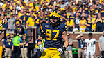 Michigan defensive lineman Aidan Hutchinson (97) celebrates a defensive play in the second overtime period of an NCAA football game against Army in Ann Arbor, Mich., Saturday, Sept. 7, 2019. Michigan won 24-21 in double-overtime. (AP Photo/Tony Ding)