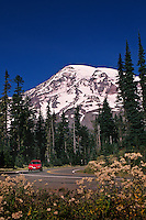 Red Car On Road From Paradise At Mount Rainier, Mt. Rainier National Park, Washington State, US