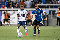 SAN JOSE, CA - AUGUST 13: Deiber Caicedo #7 of the Vancouver Whitecaps evades Judson #93 of the San Jose Earthquakes during a game between San Jose Earthquakes and Vancouver Whitecaps at PayPal Park on August 13, 2021 in San Jose, California.