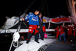 Thomas Coville and the trimaran Sodebo arrival of his attempt around the world alone.