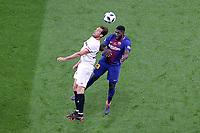 Sevilla FC's Franco Vazquez (l) and FC Barcelona's Samuel Umtiti during Spanish King's Cup Final match. April 21,2018. (ALTERPHOTOS/Acero)