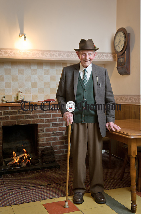 Pakie Wall, aged 97 of Ballydineen, Kilmihil, who has been identified at the oldest Patrick in Clare and will head the parade in Ennis. Photograph by John Kelly.