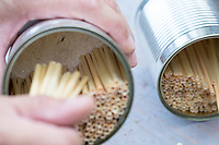 Wildbienen-Nisthilfe mit Strohhalmen, Natur-Strohhalmen in einer Konservendose, Röhrchen, Niströhrchen, Niströhren aus Stroh, Strohhalm, Strohhalme werden mit Gips in der Dose fixiert und eingeklebt, Wildbienen-Nisthilfen, Wildbienen-Nisthilfe selbermachen, selber machen, Wildbienenhotel, Insektenhotel, Wildbienen-Hotel, Insekten-Hotel