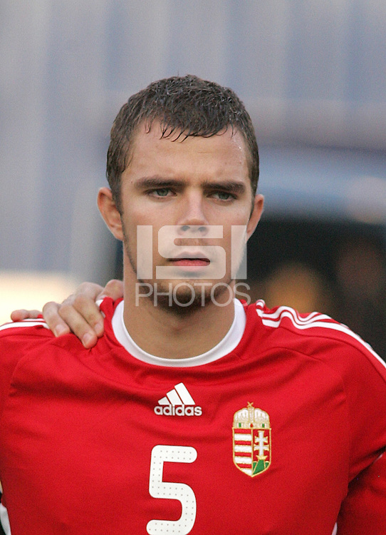 Hungary's Andras Debreceni (5) stands on the field before the game against Ghana at the FIFA Under 20 World Cup Semi-final match at the Cairo International Stadium in Cairo, Egypt, on October 13, 2009. Costa Rica won the match 1-2 in overtime play. Ghana won the match 3-2.