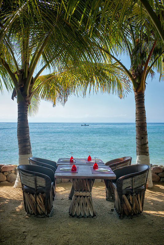 Set table at restauant with ocean view in Punta Mita, Mexico.