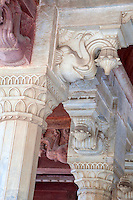 Jaipur, Rajasthan, India.  Hindu Motifs on the Columns of the Diwan-i-Am, the Hall of Public Audience--Elephant Holding a Lotus Flower.  The base of these columns have Islamic floral motifs, illustrating the Mughal combination of the two traditions.
