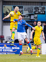 18th April 2021; Stair Park, Stranraer, Dumfries, Scotland; Scottish Cup Football, Stranraer versus Hibernian; Josh Doig of Hibernian and Darryl Duffy of Stranraer compete for possession of the ball