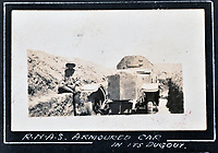 BNPS.co.uk (01202 558833)<br /> Pic: C&T/BNPS<br /> <br /> British armoured car in a dug out.<br /> <br /> Never before seen photos of the disastrous Gallipoli campaign have come to light over a century later.<br /> <br /> The fascinating snaps were taken by Sub Lieutenant Gilbert Speight who served in the Royal Naval Air Service in World War One.<br /> <br /> They feature in his photo album which covers his eventful war, including a later stint in Egypt.<br /> <br /> There are dramatic photos of the Allies landing at X Beach, as well as sobering images of a mass funeral following the death of 17 Brits. Another harrowing image shows bodies lined up in a mass grave.<br /> <br /> The album, which also shows troops during rare moments of relaxation away from the heat of battle, has emerged for sale with C & T Auctions, of Ashford, Kent. It is expected to fetch £1,500.