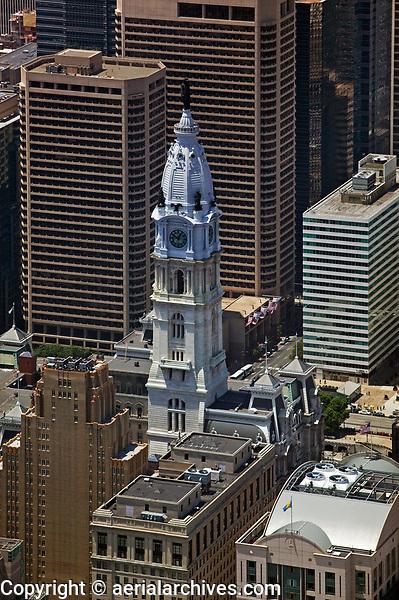 aerial photograph of Philadelphia City Hall and adjacent skyscrapers, Philadelphia, PA