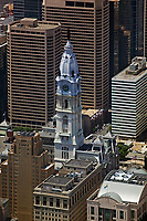 aerial photograph of Philadelphia City Hall and adjacent skyscrapers, Philadelphia, PA