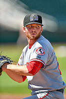 Billings Mustangs starting pitcher Andrew Jordan (23) warms up in the outfield before the game against the Ogden Raptors in Pioneer League action at Lindquist Field on August 14, 2016 in Ogden, Utah. Ogden defeated Billings 15-9.  (Stephen Smith/Four Seam Images)