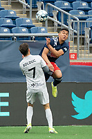 FOXBOROUGH, MA - APRIL 17: Damian Rivera #72 of New England Revolution II leaps for a high ball during a game between Richmond Kickers and Revolution II at Gillette Stadium on April 17, 2021 in Foxborough, Massachusetts.