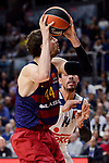 Real Madrid's Gustavo Ayon and FC Barcelona Lassa's Ante Tomic during Turkish Airlines Euroleague match between Real Madrid and FC Barcelona Lassa at Wizink Center in Madrid, Spain. March 22, 2017. (ALTERPHOTOS/BorjaB.Hojas)