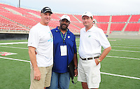 Jun. 13, 2009; Las Vegas, NV, USA; UFL head coaches Jim Haslett (left), Ted Cottrell (center) and Jim Fassel pose for a photo during the United Football League workout at Sam Boyd Stadium. Mandatory Credit: Mark J. Rebilas-