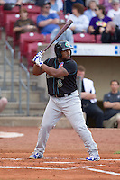 Kane County Cougars outfielder Reggie Golden #16 bats during a game against the Cedar Rapids Kernels at Veterans Memorial Stadium on June 8, 2013 in Cedar Rapids, Iowa. (Brace Hemmelgarn/Four Seam Images)