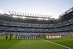 Real Madrid's players and Atletico del Madrid´s players before quarterfinal second leg Champions League soccer match at Santiago Bernabeu stadium in Madrid, Spain. April 22, 2015. (ALTERPHOTOS/Victor Blanco)