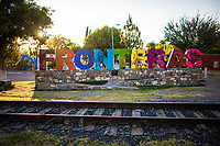 Monumental letters of colors in the community of Fronteras, Sonora, Mexico. Railroad train tracks October 9, 2020<br /> (Photo By Luis Gutierrez / Norte Photo)<br /> <br /> Letras Monumentales de colores en  la comunidad de Fronteras, Sonora, Mexico.  Vias de tren de ferrocarril 9 cotubre 2020<br /> (Photo By Luis Gutierrez/Norte Photo)