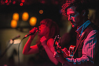 """John Cripps and Jenni May of The Modern Savage perform during the release party for Emma Hill's """"Ten Years"""" album at Taproot."""