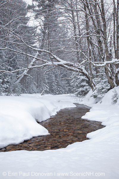 Oliverian Brook during a snowstorm in Albany, New Hampshire USA during the winter months