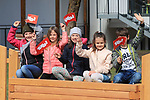 Tour of the Alps UCI Cycling Race. Resia, Imst, Italy on April 21, 2021.  Stage 3 from Imst Austria to Naturns/Naturno, Kids with Tyrol flags.