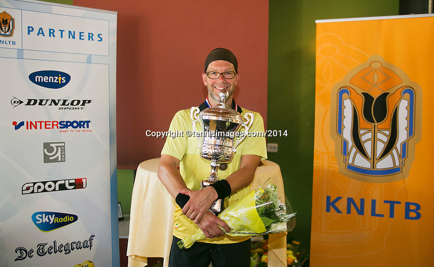August 24, 2014, Netherlands, Amstelveen, De Kegel, National Veterans Championships, Final men 40+ , Winner Jeroen Bok <br /> Photo: Tennisimages/Henk Koster