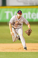 Third baseman Zack Briggs #10 of the Thomasville HiToms charges towards home plate against the Gastonia Grizzlies at Sims Legion Park on June 2, 2011 in Gastonia, North Carolina.  The Hi-Toms defeated the Grizzlies 9-4.  Photo by Brian Westerholt / Four Seam Images