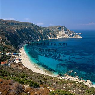 Greece, Cephalonia (Ionian island), Petani: View of Bay and Beach | Griechenland, Kefalonia (Ionische Insel), Petani: Bucht und Strand