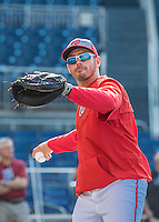 28 May 2016: Washington Nationals bullpen catcher Octavio Martinez warms up prior to facing the St. Louis Cardinals at Nationals Park in Washington, DC. The Cardinals defeated the Nationals 9-4 to take a 2-games to 1 lead in their 4-game series. Mandatory Credit: Ed Wolfstein Photo *** RAW (NEF) Image File Available ***