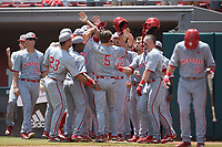 Patrick Bailey (5) of the North Carolina State Wolfpack is congratulated by his teammates as he returns to the dugout after hitting a home run against the Northeastern Huskies at Doak Field at Dail Park on June 2, 2018 in Raleigh, North Carolina. The Wolfpack defeated the Huskies 9-2. (Brian Westerholt/Four Seam Images)
