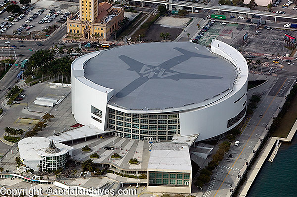 aerial photograph American Airlines Arena downtown Miami Florida