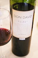 In the Sheraton Hotel Restaurant Bottle and glass of Don David Malbec 2003 / 2004 Bodega El Esteco Mendoza, Argentina, South America