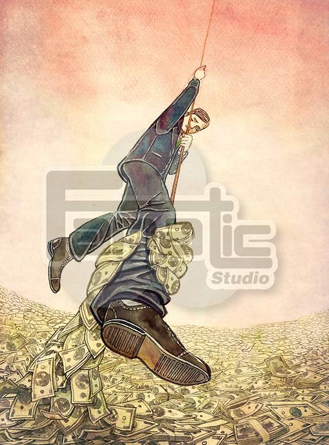 Businessman hanging on rope while money hand grabbing from leg depicting man resisting debt