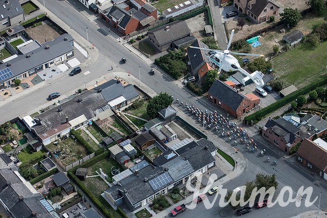 """TV Helicopter covering the action. <br /> <br /> Antwerp Port Epic 2018 (formerly """"Schaal Sels"""")<br /> One Day Race: Antwerp > Antwerp (207km of which 32km are cobbles & 30km is gravel/off-road!)"""