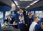 St Johnstone v Dundee United....17.05.14   William Hill Scottish Cup Final<br /> Chris Millar leads the singing on the journey back to Perth<br /> Picture by Graeme Hart.<br /> Copyright Perthshire Picture Agency<br /> Tel: 01738 623350  Mobile: 07990 594431