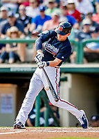 25 February 2019: Atlanta Braves outfielder Drew Waters leads off the 6th inning of a pre-season Spring Training game against the Washington Nationals at Champion Stadium in the ESPN Wide World of Sports Complex in Kissimmee, Florida. The Braves defeated the Nationals 9-4 in Grapefruit League play in what will be their last season at the Disney / ESPN Wide World of Sports complex. Mandatory Credit: Ed Wolfstein Photo *** RAW (NEF) Image File Available ***