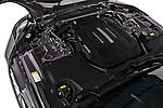 Car Stock 2017 Jaguar F-TYPE S-Convertible 2 Door Convertible Engine  high angle detail view