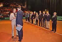 14-sept.-2013,Netherlands, Groningen,  Martini Plaza, Tennis, DavisCup Netherlands-Austria, Doubles,   ITF award for Paul Haarhuis<br /> Photo: Henk Koster