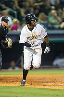 Darryl George (14) of the Bowling Green Hot Rods hustles down the first base line against the Quad Cities River Bandits at Bowling Green Ballpark on July 26, 2014 in Bowling Green, Kentucky.  The River Bandits defeated the Hot Rods 9-2.  (Brian Westerholt/Four Seam Images)