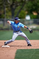 Tampa Bay Rays Taylor Walls (9) warms up before a Minor League Spring Training game against the Minnesota Twins on March 17, 2018 at CenturyLink Sports Complex in Fort Myers, Florida.  (Mike Janes/Four Seam Images)