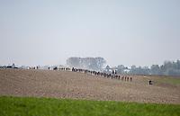Peloton hits pavé sector 27: Quiévy to Saint-Python<br /> <br /> 115th Paris-Roubaix 2017 (1.UWT)<br /> One day race: Compiègne > Roubaix (257km)