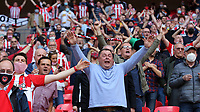 Brentford fans celebrate promotion to the Premier League during Brentford vs Swansea City, Sky Bet EFL Championship Play-Off Final Football at Wembley Stadium on 29th May 2021