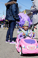 Casey Harris, of the Fi Yi Yi Mardi Gras Indians, in the Treme neighborhood of New Orleans on Mardi Gras day, February 16, 2010.