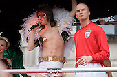 A model of David Beckham on a float at the London Pride parade through central London