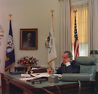 LBJ at his desk in the Oval Office. Jan. 17, 1968.<br /> <br /> Credit: LBJ Library Photo by Kevin Smith
