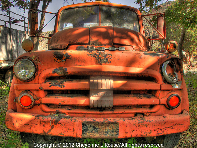 """Old Red Dodge Truck - Gold King Mine, Jerome, Arizona - looks like """"Mader"""" in the movie, CARS."""