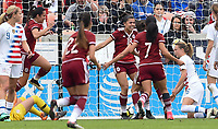 Houston, TX - Sunday April 8, 2018: Mexico celebrates their goal during an International friendly match versus the women's National teams of the United States (USA) and Mexico (MEX) at BBVA Compass Stadium.
