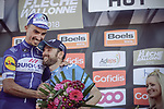 Julian Alaphilippe (FRA) Quick-Step Floors wins La Fleche Wallonne 2018 with Alejandro Valverde (ESP) Movistar Team in 2nd place, running 198.5km from Seraing to Huy, Belgium. 18/04/2018.<br /> Picture: ASO/Thomas Maheux | Cyclefile.<br /> <br /> All photos usage must carry mandatory copyright credit (© Cyclefile | ASO/Thomas Maheux)