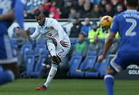 Leandro Bacuna of Aston Villa takes a free kick during the Sky Bet Championship match between Cardiff City and Aston Villa at The Cardiff City Stadium, Cardiff, Wales, UK. Monday 02 January 2017