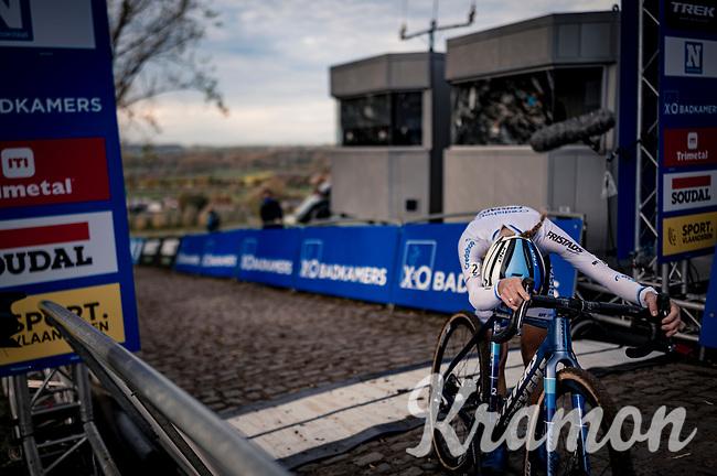 European Champion Yara Kastelijn (NED/Credishop-Fristads) almost collapsing immediately after crossing the finish line up the brutal Koppenberg<br /> <br /> Koppenbergcross 2020 (BEL)<br /> women's race<br /> <br /> ©kramon