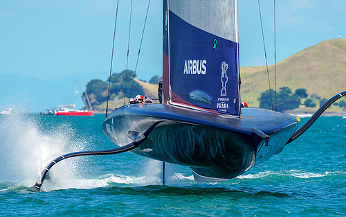 American Magic took the left hand mark at the top gate, a move that cost them time by the bottom of the first downwind leg Photo: COR36 / Studio Borlenghi